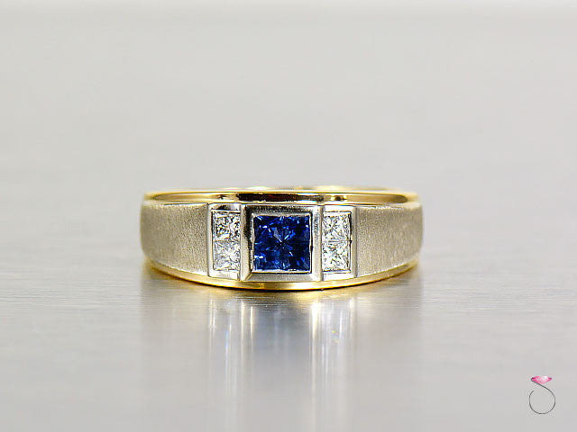 Sapphire Diamond 14K White Yellow Gold Man Ring Band