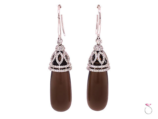 Designer Diamond & Smoky Quartz Large Drop Earrings, 18K White Gold