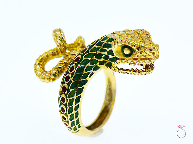 Vintage 18K Yellow Gold Enameled Large Snake Ring, Rare 1960's Animal Motif