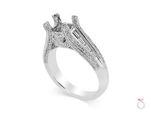 Solitaire Engagement Ring Setting in 0.92ctw 18K White Gold