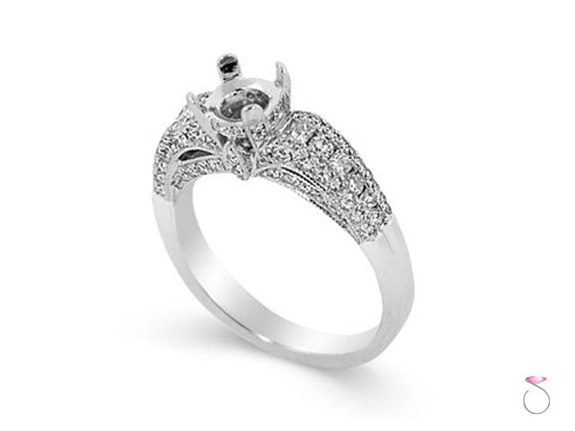 Diamond engagement ring setting in 18K white gold 1.19ct side stones