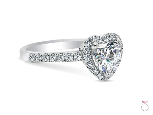 Heart Shaped Diamond Halo Engagement Ring 1.01ct in 18K