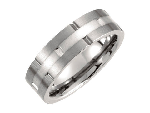 Titanium & Sterling Silver Inlay 7mm Satin Finish Band Ring
