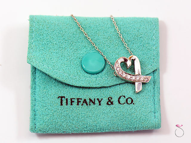 b4df33b90 Tiffany & Co 18KT White Gold & Diamond Loving Heart Pendant Necklace By Paloma  Picasso