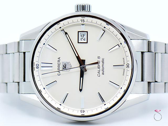 Tag Heuer Carrera Calibre 5 Silver Dial 39mm Stainless Steel Mens Watch WAR211B