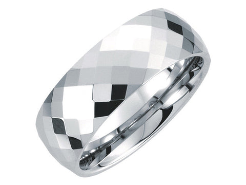 White Tungsten 8.3mm Diamond Cut Faceted Band