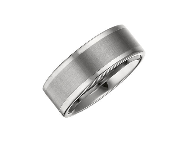 Tungsten 8.3mm Flat Band with Satin Finish Center