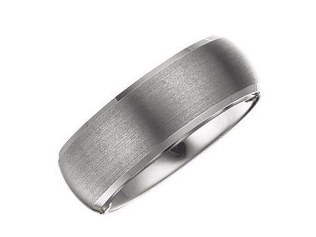 Tungsten 8.3mm Beveled Band with Satin Center