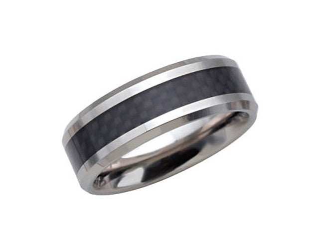 Tungsten 8.3mm Beveled Band with Black Carbon Fiber Center