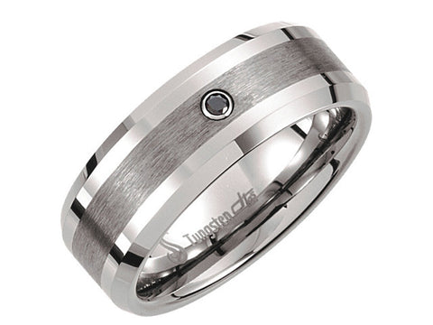Tungsten 8.3mm Satin Finish Diamond Band