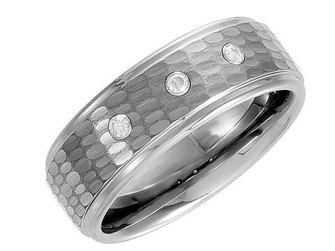 Tungsten 8.3mm Ridged Diamond Bark Finish Band