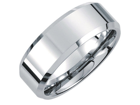 White Tungsten 8.3mm Beveled Polished Band