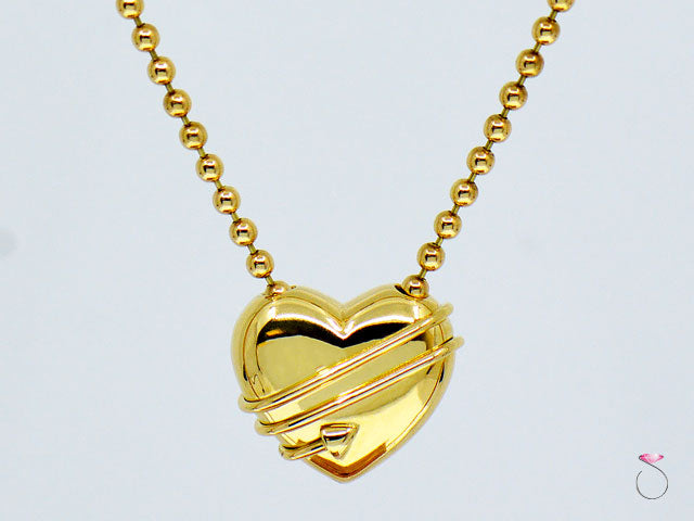 Tiffany & Co. Cupid Heart & Arrow 18k Yellow Gold Pendant & Bead Chain Necklace