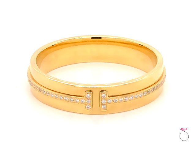 Tiffany & Co. T Wide Diamond Band Ring, 18K Yellow Gold