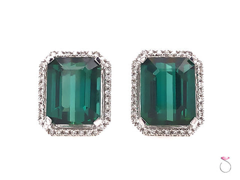 Designer Green Tourmaline Diamond Halo Earrings, 18k White Gold