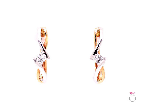 Diamond Small Twist Hoop Earrings, 0.10 Carat,18K White & Rose Gold Earrings