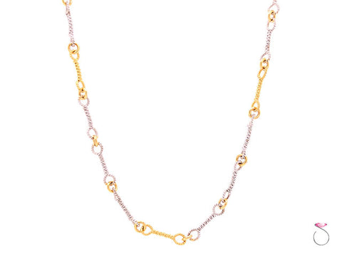14k Tow Tone Italian Fancy Link Braided Dumbbell Link Chain Necklace 18 Inch