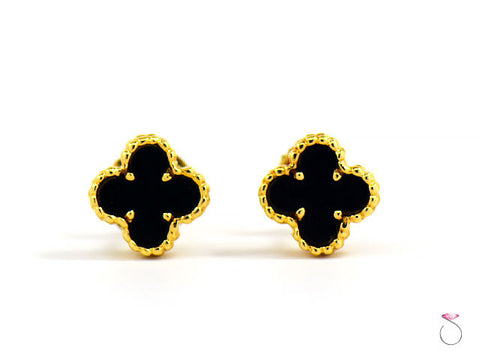 Van Cleef & Arpels Sweet Alhambra Onyx Stud Earrings, 18k Yellow Gold