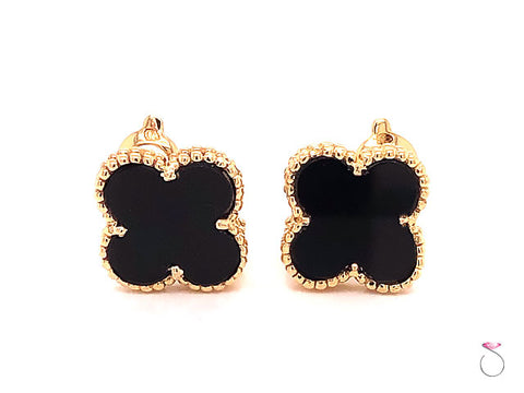 Van Cleef & Arpels Magic Alhambra Onyx Earrings, 18k Yellow Gold