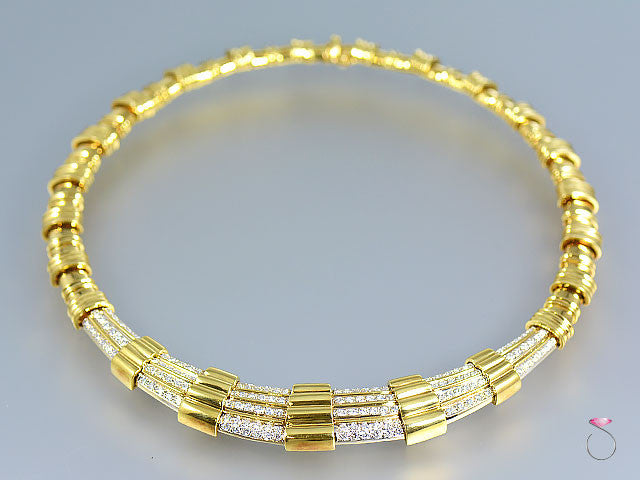 Vintage Retro Diamond Collar Necklace in 18k Yellow Gold