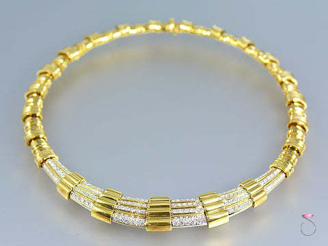 Vintage Diamond Collar Necklace in 18k Yellow Gold, 5.00 ctw. G, VS