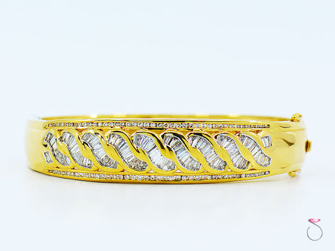 18K Yellow Gold Diamond Bangle Bracelet, Round & Baguette Diamonds 2.48 ctw.