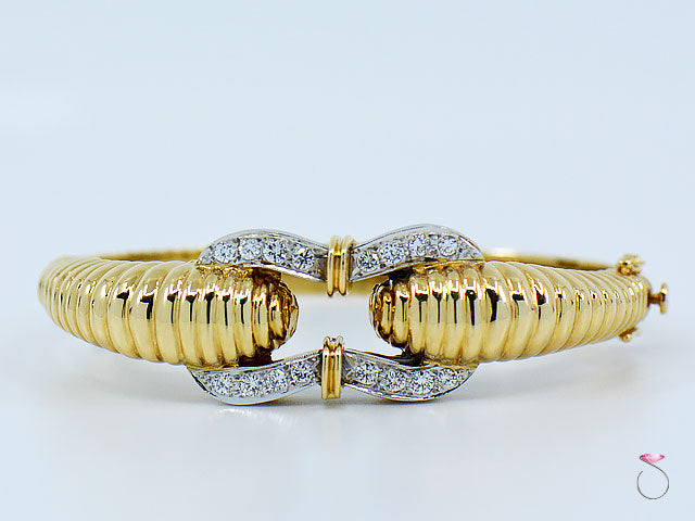 Vintage 14K Yellow Gold Diamond Bangle Bracelet, 1.50 ctw Stunning