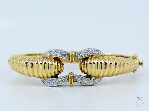 Vintage 14K Yellow Gold Diamond Bangle Bracelet, 1.50 ctw