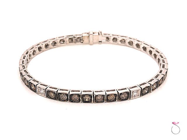 Diamond Tennis Bracelet, Chocolate and White Diamonds 3.63 CTW, 18K White Gold