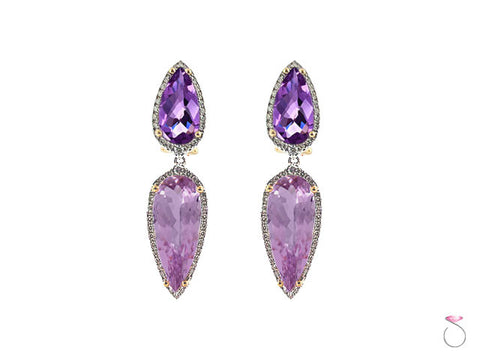 Amethyst Kunzite 0.68ct Diamond Earrings in 18K Two Tone