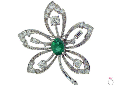 Victorian 2.10ct Emerald 1.75ctw Diamond Flower Brooch in Platinum
