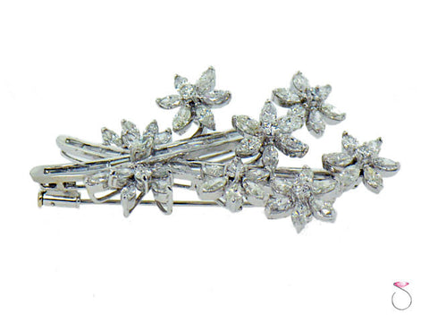 Estate Vintage Floral 4.25ct Diamond Brooch in Platinum