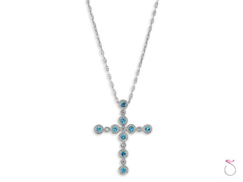 Aquamarine Diamond Cross Pendant Gucci Chain in 14K