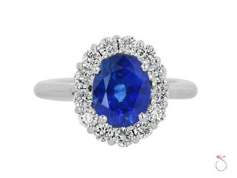Blue Sapphire 4.00ct Diamond Halo 1.00ct Ring in 18K