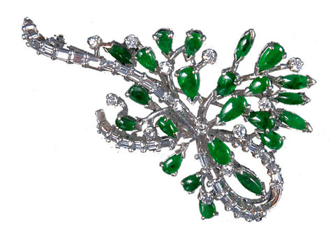 Antique Jadeite and Diamond Brooch in Platinum