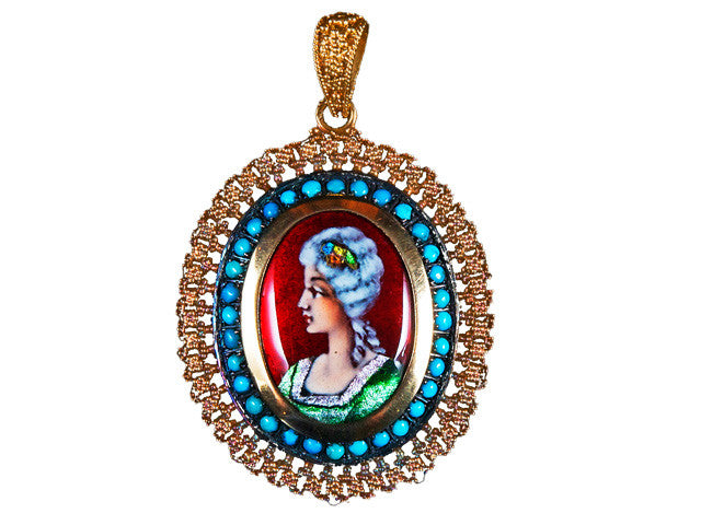 Hand Painted Enamel Yellow Gold Antique Pendant 18K