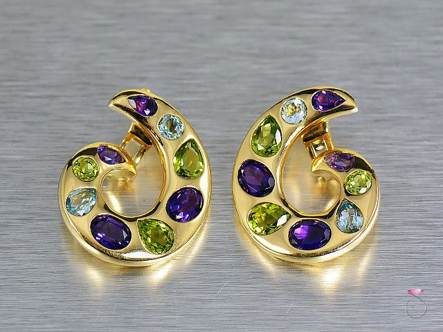 Chanel Multi Gem Aquamarine Amethyst Peridot Curl Earrings in 18K