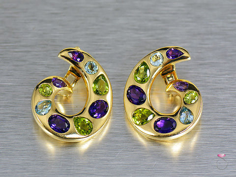 Chanel MultiGem Aquamarine Amethyst Peridot Curl 18K Earrings