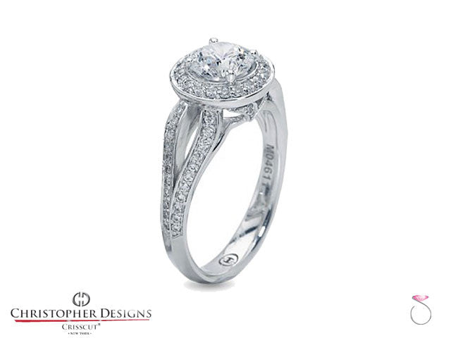 Christopher Designs Halo Diamond Engagement Ring Style: G78SP-RD200
