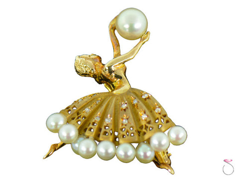 Vintage Ballerina Diamond Natural Pearl Yellow Gold 14K