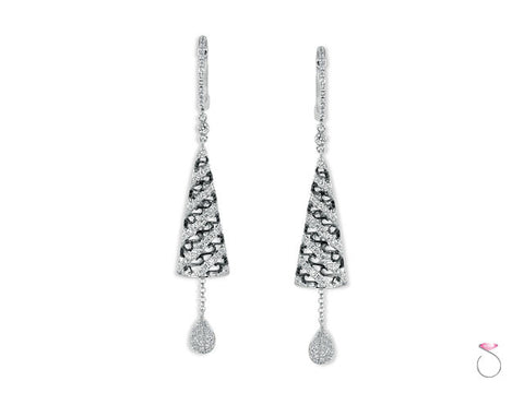 Diamond 1.26ct Cone Dangle Earrings in 18K