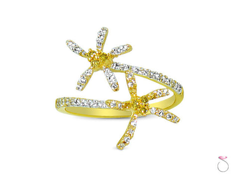 Floral bypass Diamond Ring in 18K