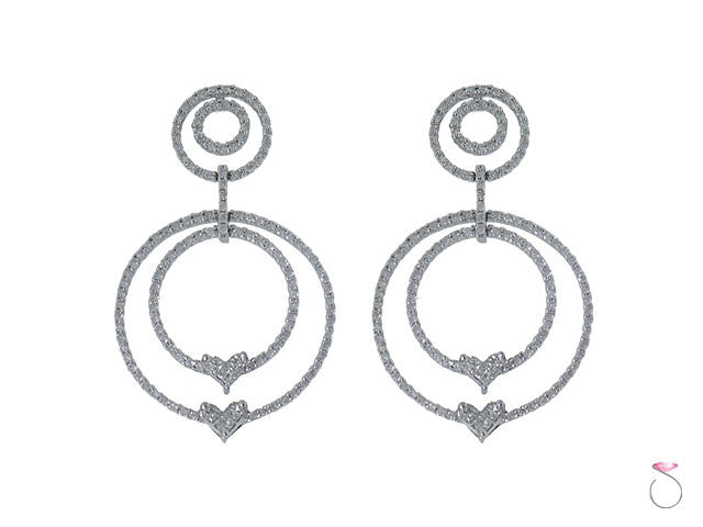 Diamond Circle Hearts Earrings Hawaii online sale