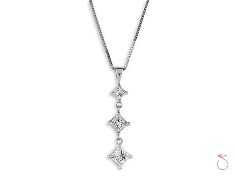 Princess Shaped Diamond Dangle Pendant Chain in 14K White Gold