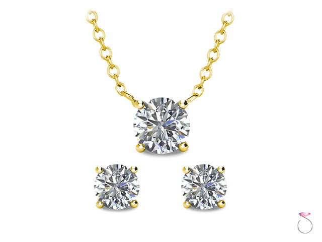Solitaire Stud Earrings Pendant Chain Set online sale Hawaii