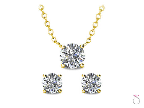 Diamond Solitaire Stud Earrings Pendant set 1/2ct with Chain in 14K