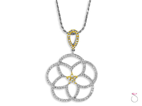 Diamond .90ct Pentagram 18K 2 tone White Yellow Gold Pendant