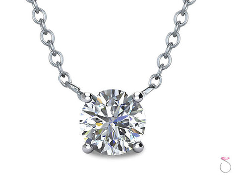 Diamond Solitaire Pendant 1/4ct with Chain in 14K Gold