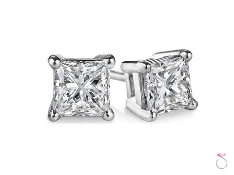 2.23ct Princess Cut Diamond Stud Earrings