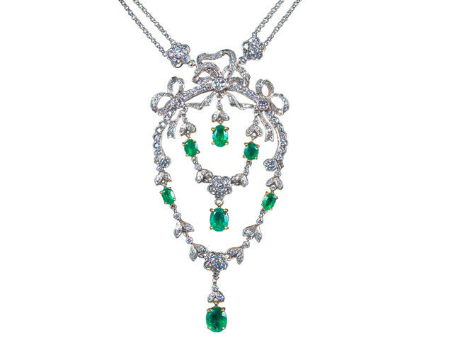 Edwardian 4.34ct Emerald 4.10ct Diamond Necklace in 18K online sale